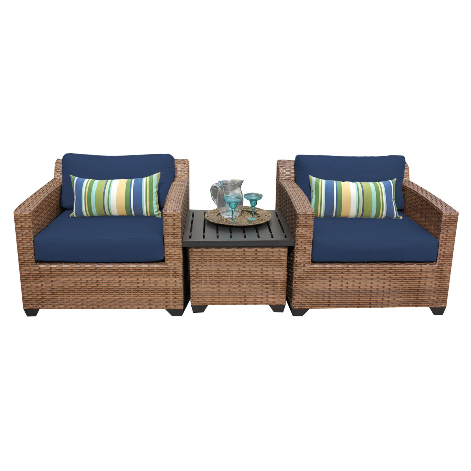 tk classics laguna wicker 3 patio conversation set on 3 Piece Patio Cushion Set id=92627