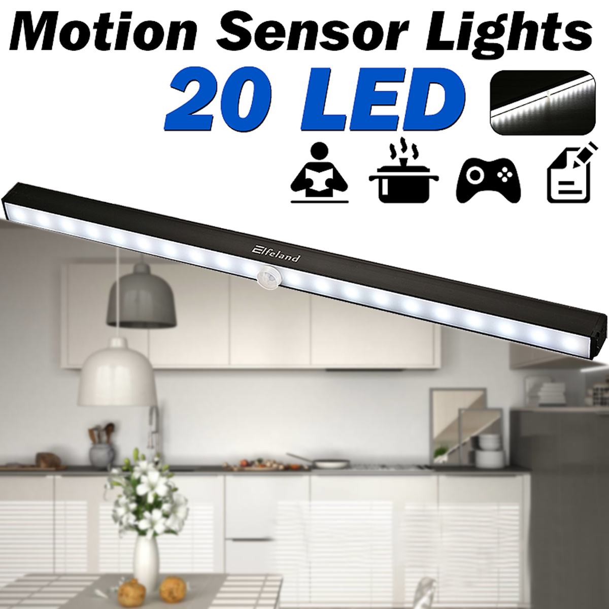 under cabinet lighting wireless led closet light battery powered motion sensor light 20 led bulbs easy to install night light bar for stairway