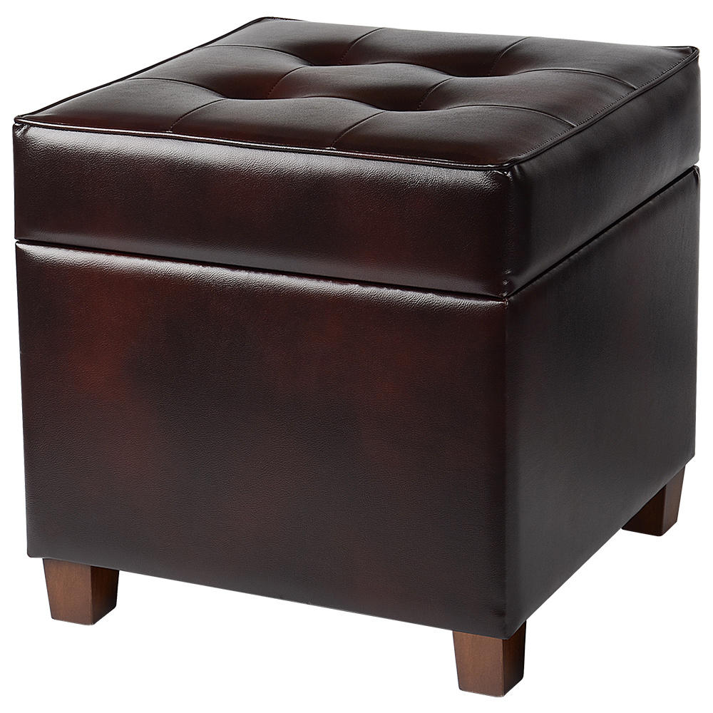 17 inch square storage ottoman with hinged lid brown