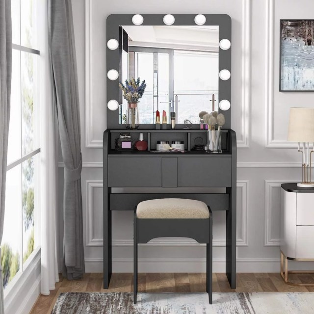 Tribesigns Vanity Table Set with Mirror, Lighted 9 LED ...