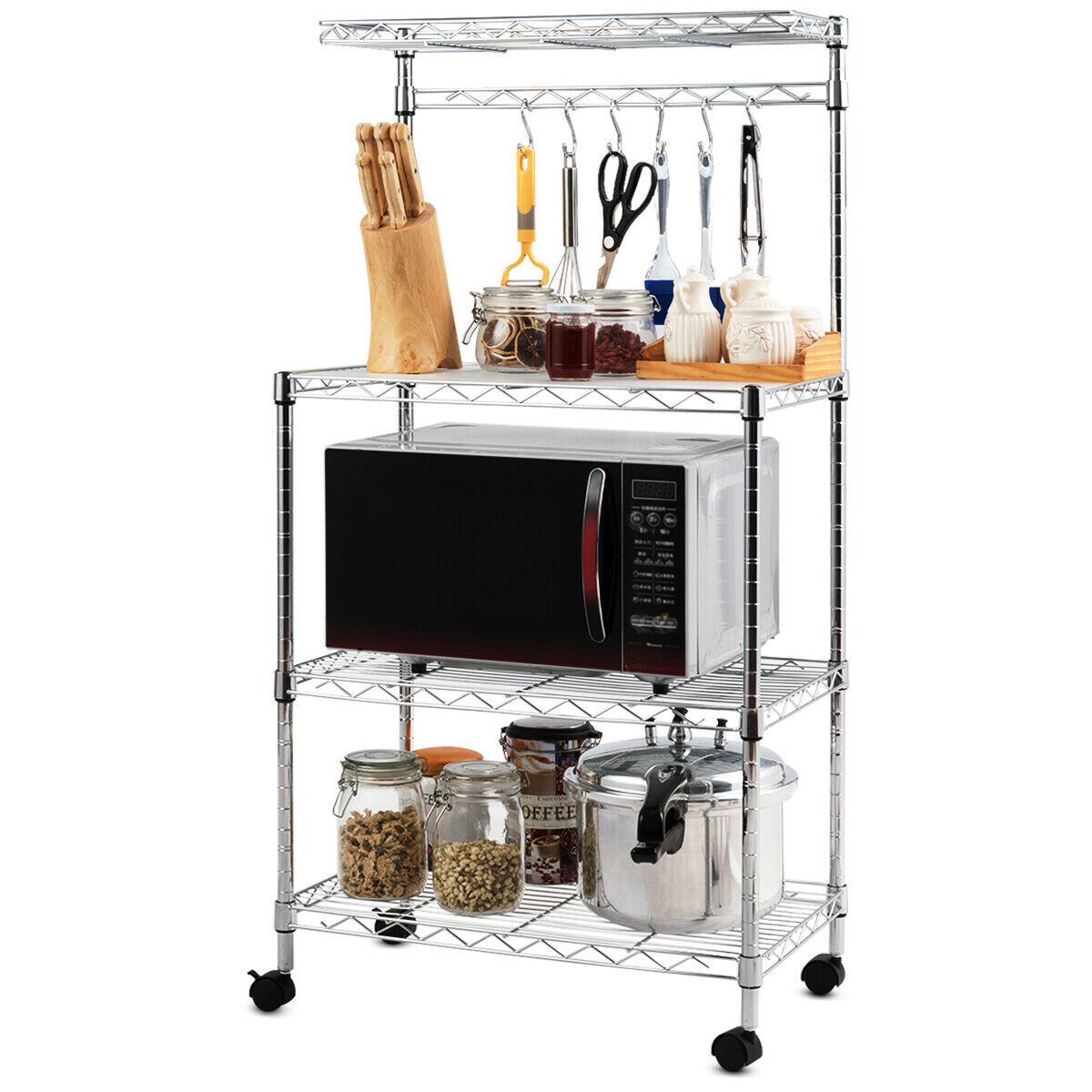 costway 3 tier kitchen baker s rack microwave oven stand storage cart workstation shelf metal sliver
