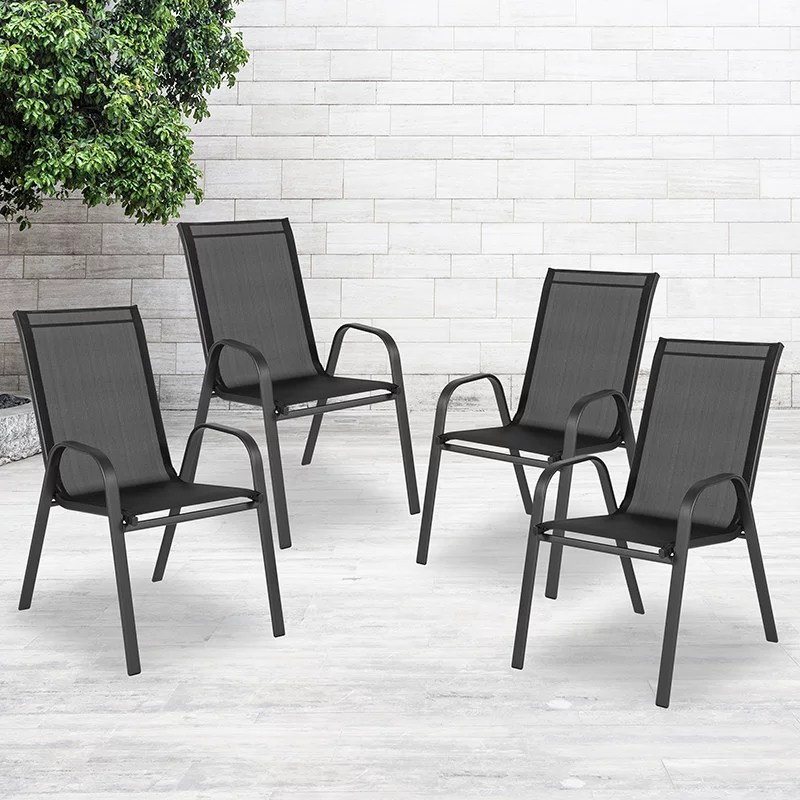 4 pack black outdoor stack chair with flex comfort material patio stack chair