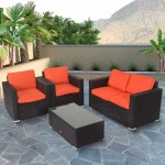 Kinbor 4pcs Outdoor Patio Furniture Pe Rattan Wicker Rattan Sofa Sectional Set With Blue Cushions Walmart Com Walmart Com