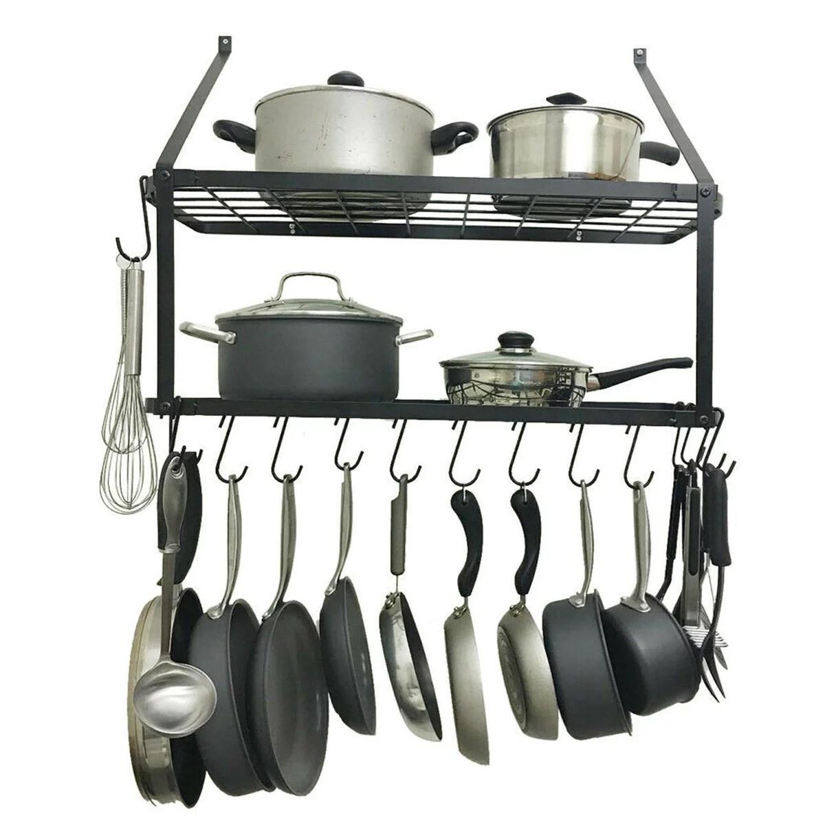 12 hooks metal hanging pan pot rack wall mounted ot pan rack holder cookware storage shelf hanger hook