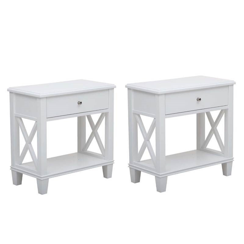 home square set of 2 white nightstands