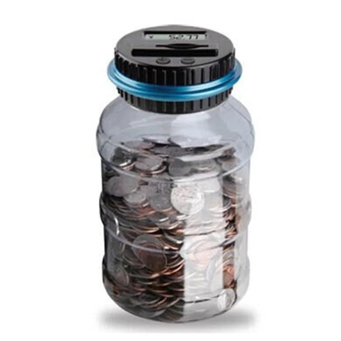 If Clear Digital Piggy Bank Coin Savings Counter Lcd