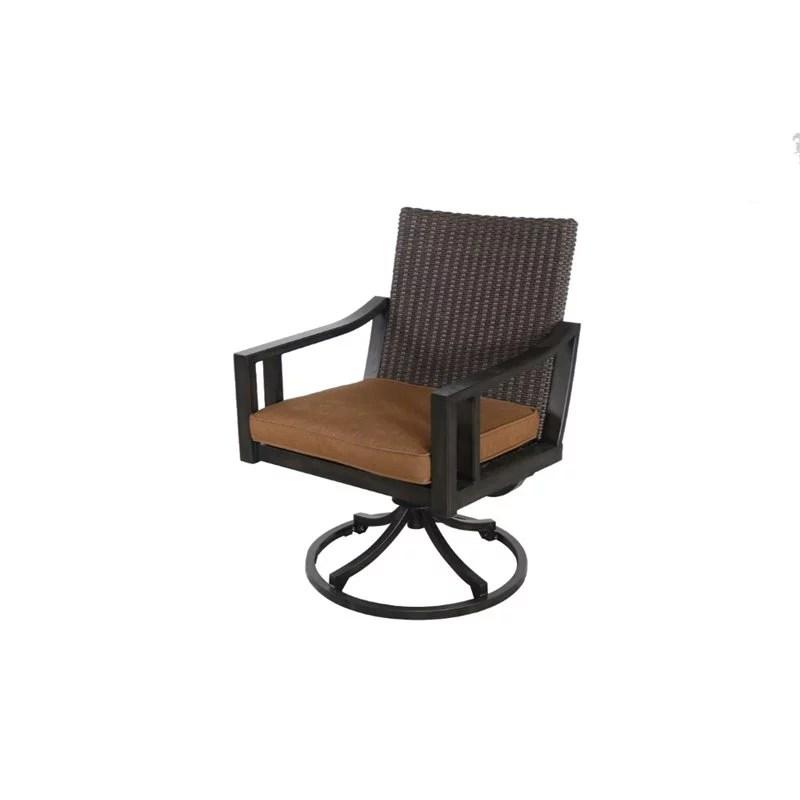 sunvilla pennant wicker swivel patio dining chair in sahara