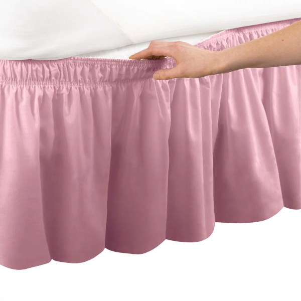Pink Bed Skirts Wrap Around Bed Skirt  Easy Fit Elastic Dust Ruffle  Queen King  Rose