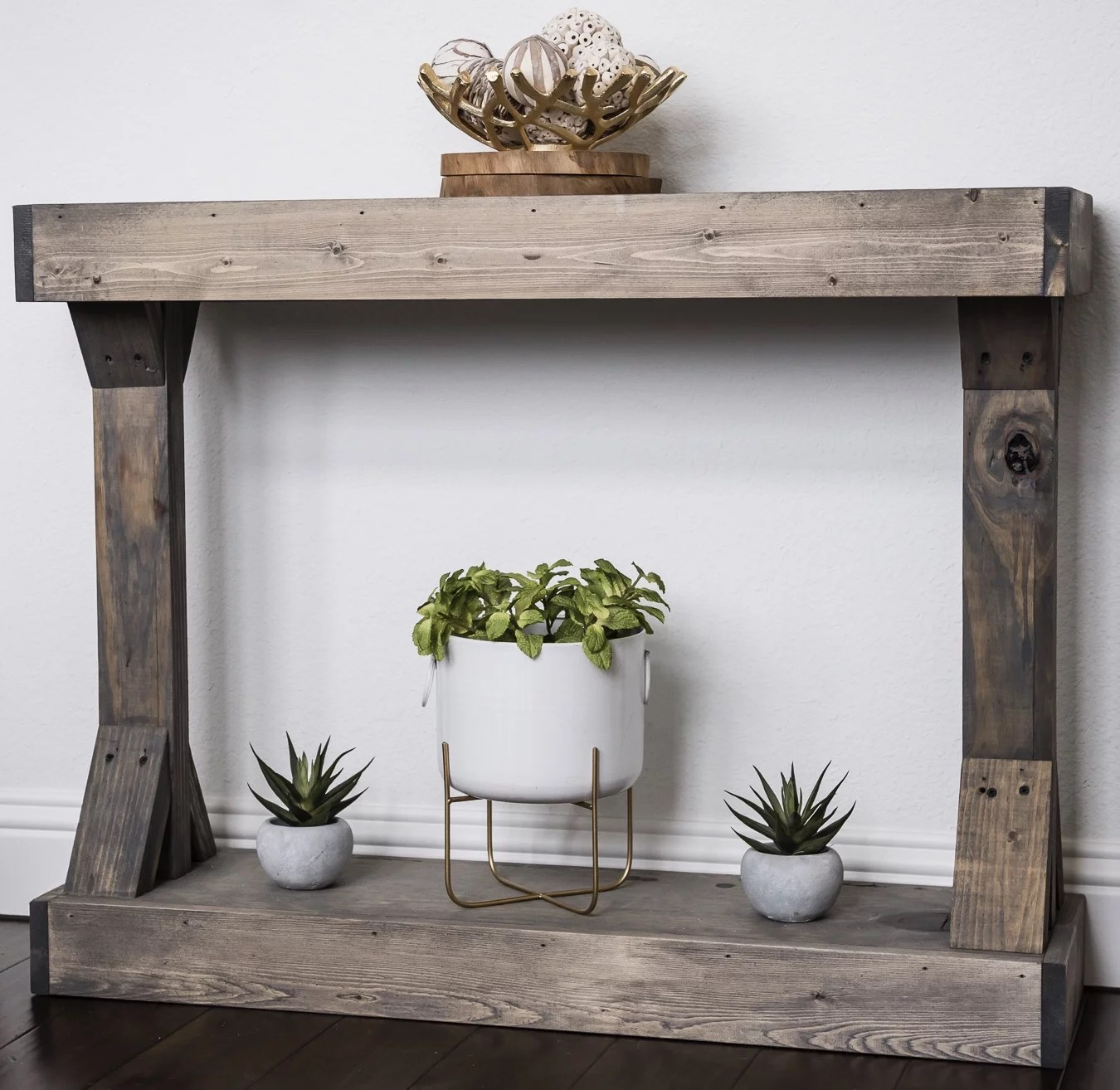barb small console table solid wood by del hutson designs gray