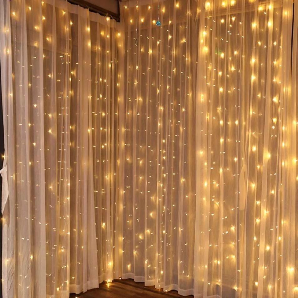 torchstar 9 8ft x 9 8ft led curtain lights starry christmas string light icicle light fairy light curtain light decorative lighting for room