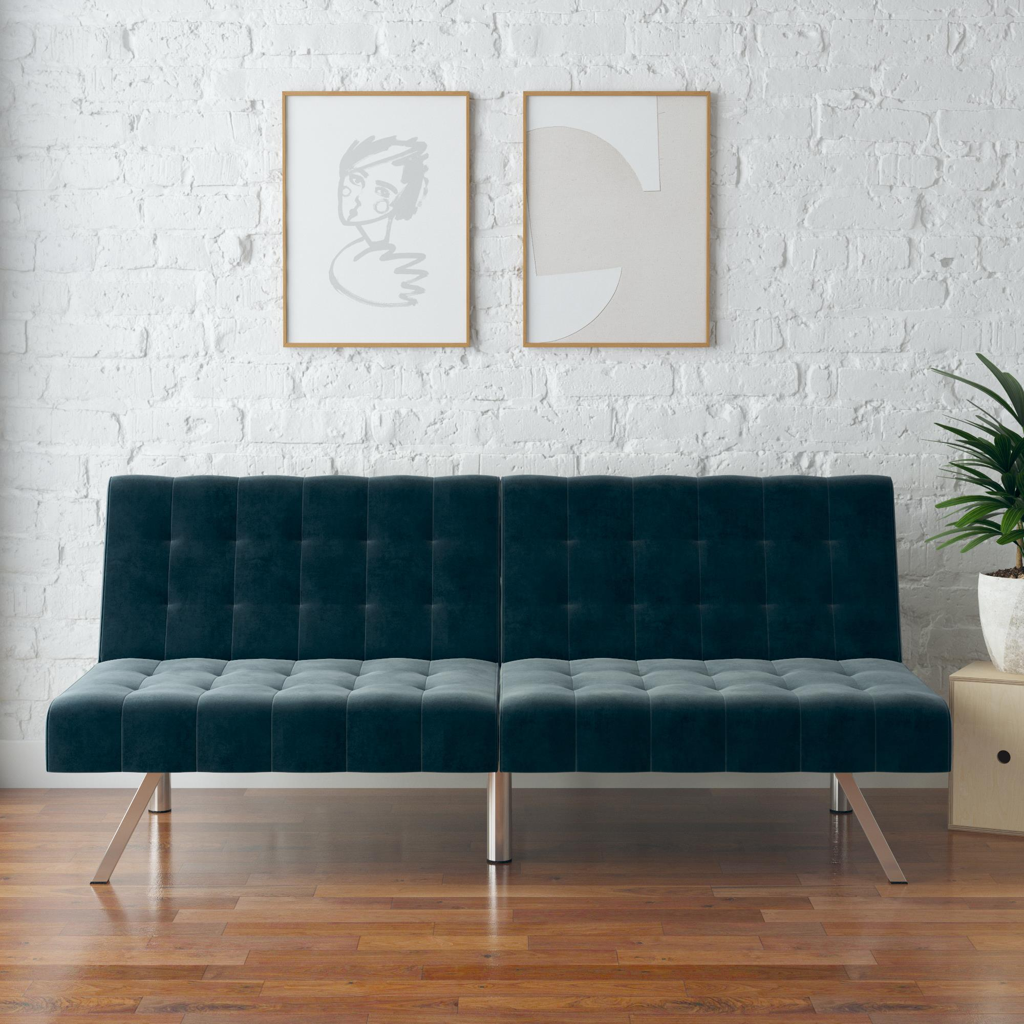 mainstays morgan futon convertible sofa bed and couch blue velvet walmart com