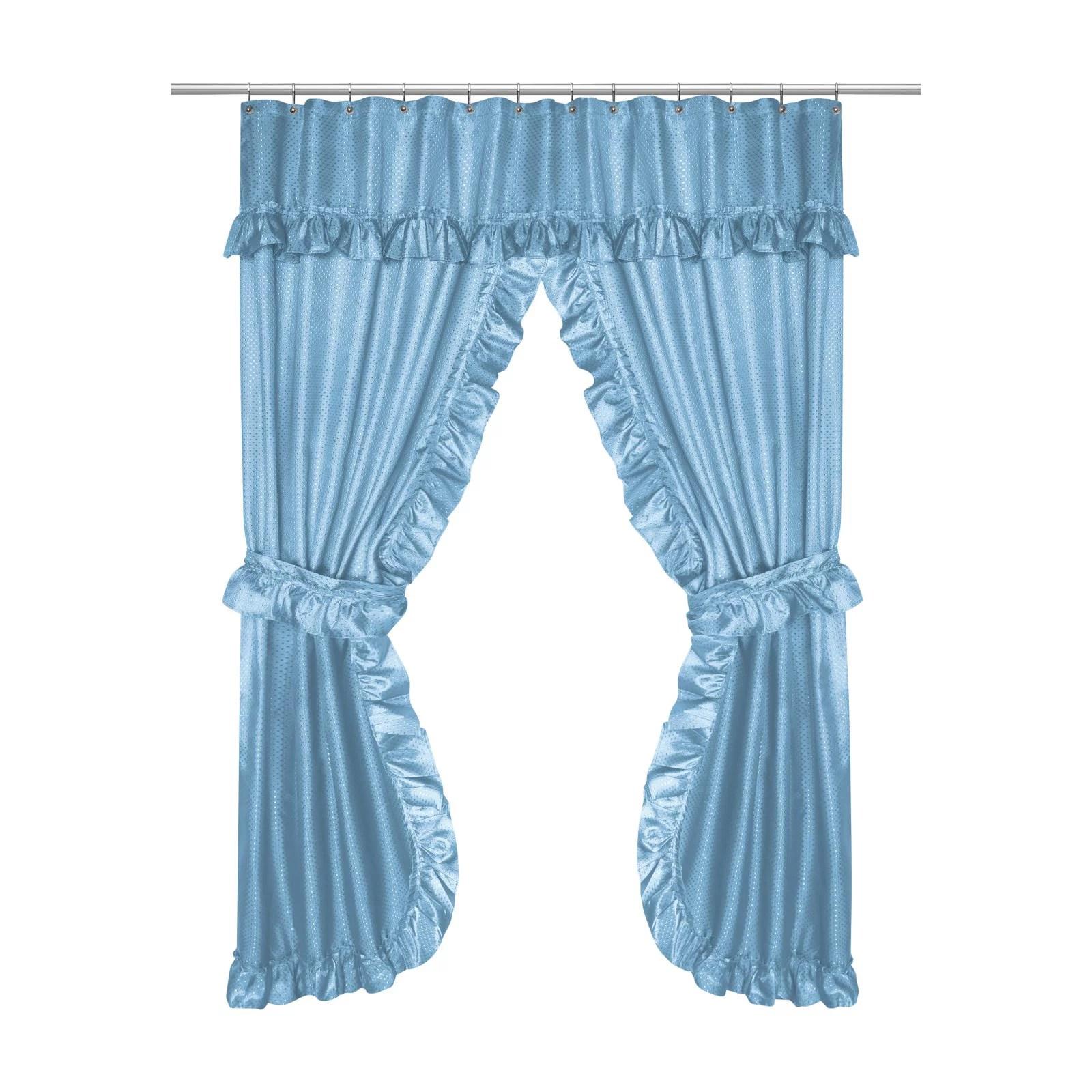lauren double swag shower curtain grey