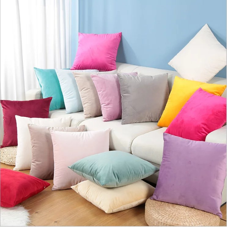 walfront cushion cover throw pillow cover solid color cotton canvas cushion cover home decor throw pillow case lounge