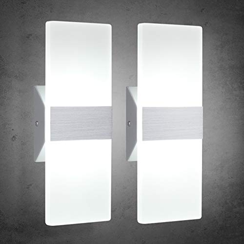 trlife modern wall sconces 12w set of 2 led wall sconces 6000k cool white wall sconce lighting for hallway bedroom bathroom porch living room