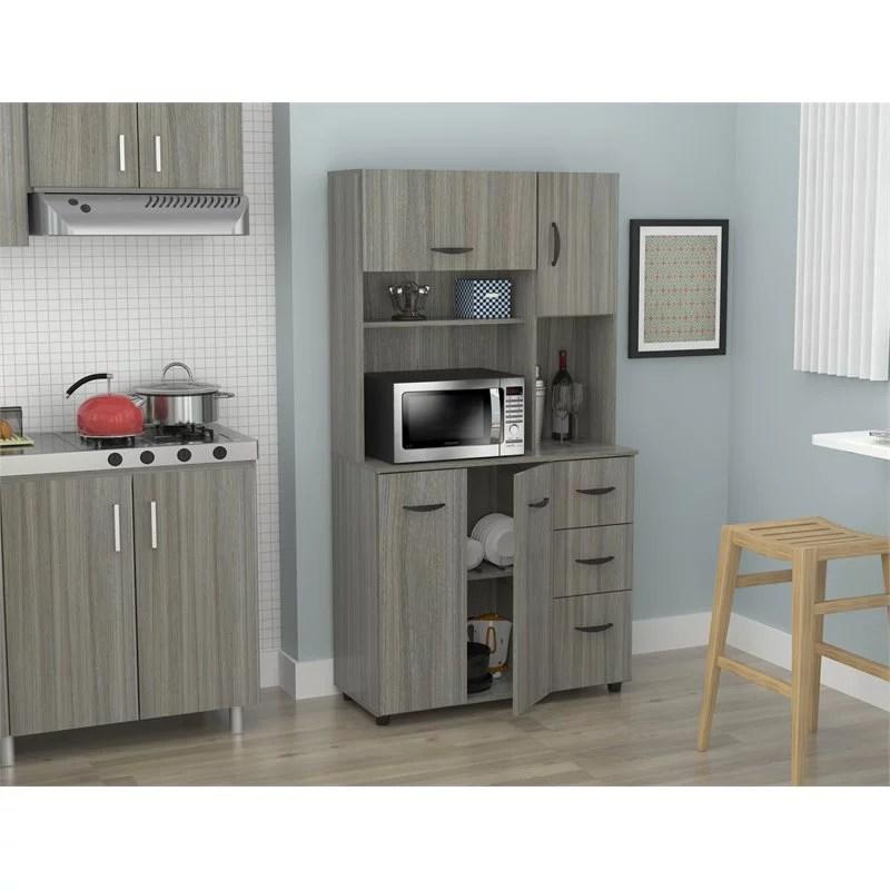 inval laminate kitchen microwave storage cabinet smoke oak