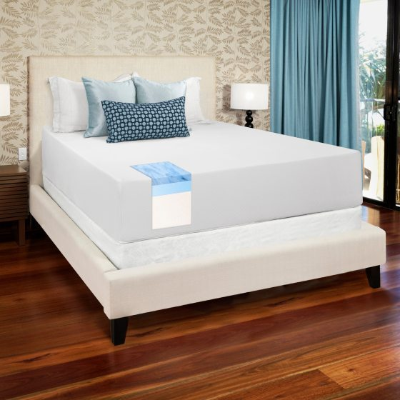 Select Luxury Gel Memory Foam 14 Inch Medium Firm King Size Mattress And Foundation Set