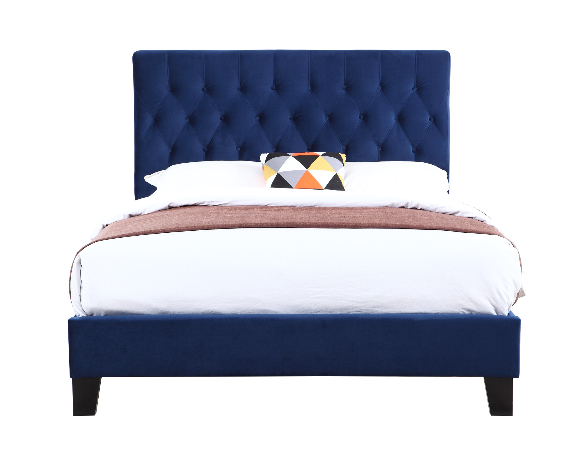 amelia navy upholstered bed with tufted padded headboard and platform style base cal king walmart com