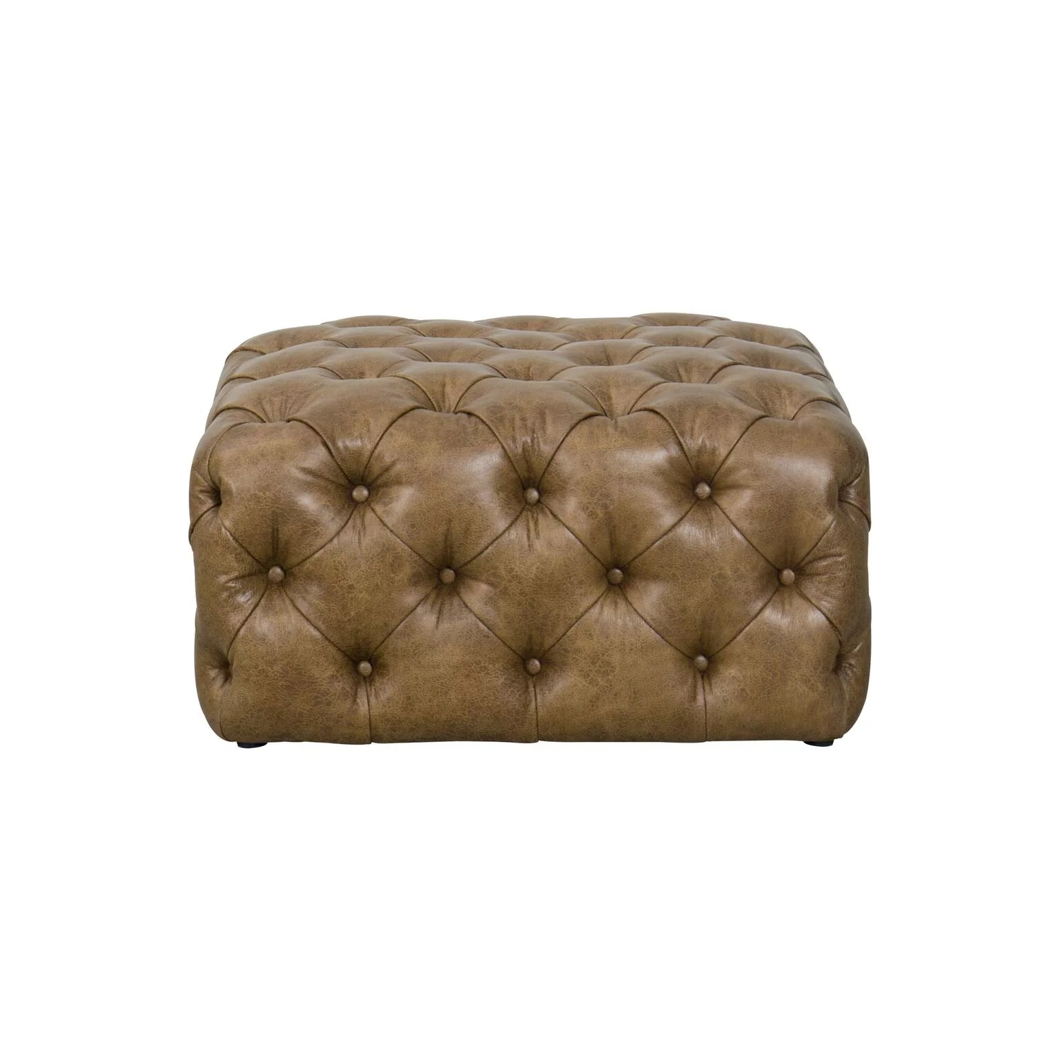 homepop large square tufted ottoman light brown faux leather walmart com