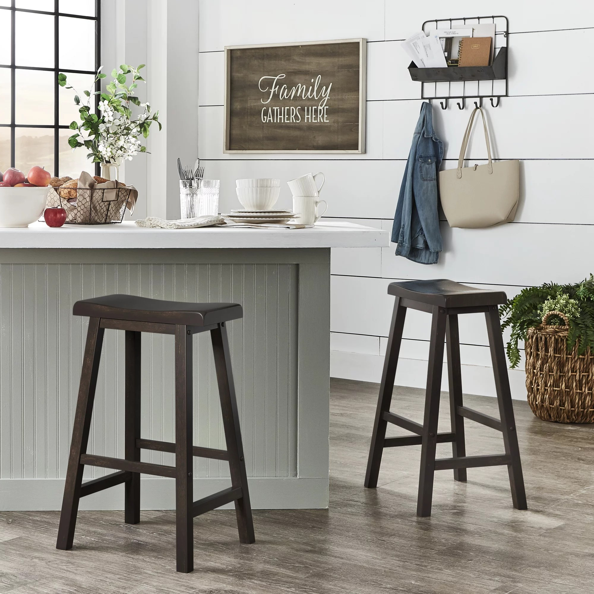 Weston Home Ashby Saddle Seat Backless Wood Bar Stools Set Of 2 Antique Berry Red Walmart Com Walmart Com