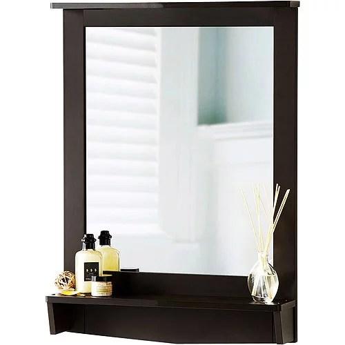 Homz Contemporary Wall Mirror With Shelf Espresso