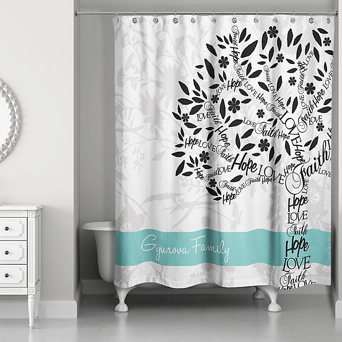 family tree personalized shower curtain in white teal walmart com