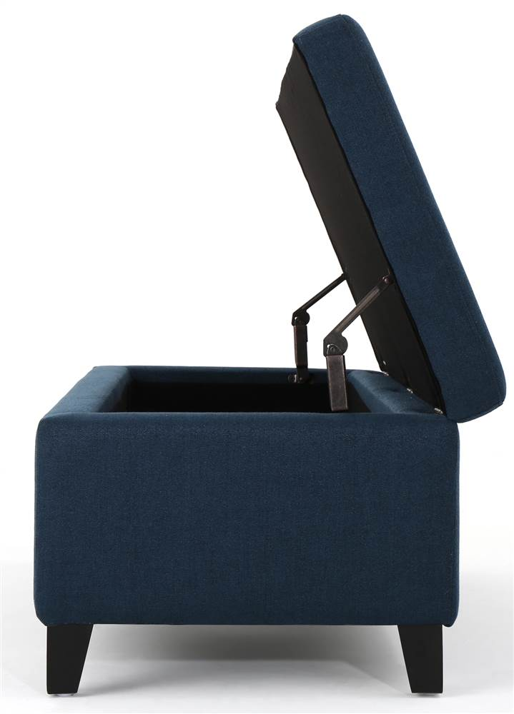 york storage ottoman in navy blue and dark brown
