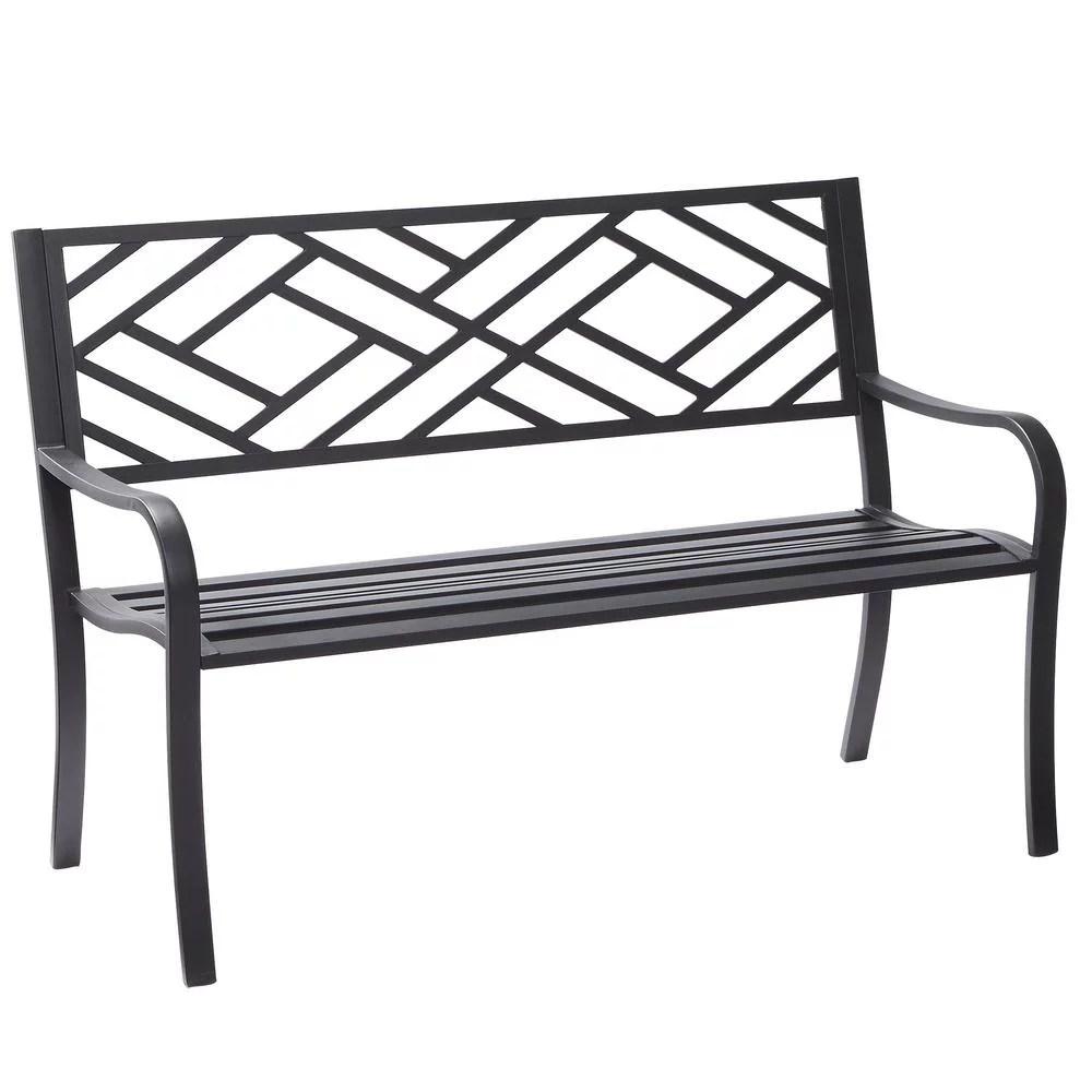 hampton bay easterly steel black outdoor bench hd17590
