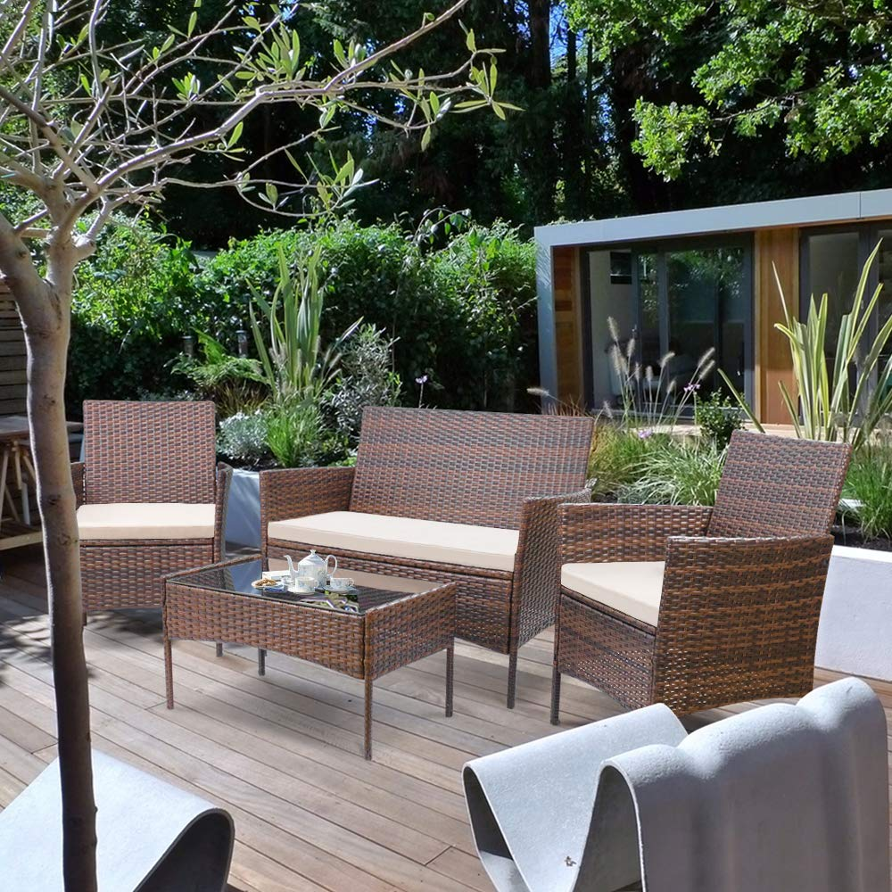 walnew 4 pcs outdoor patio furniture brown pe rattan wicker table and chairs set