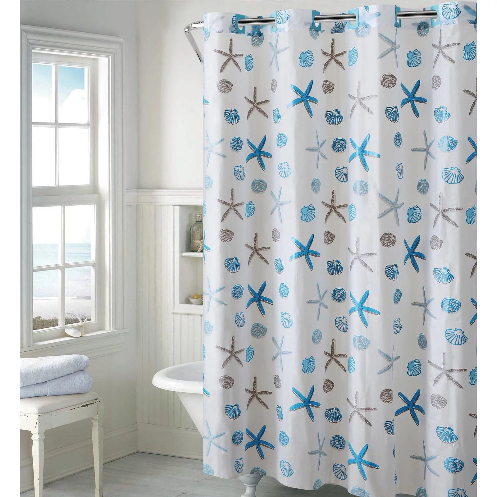 hookless blue gray seashell peva shower curtain
