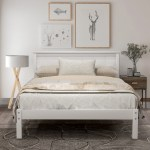 Full Size Bed Frame No Box Spring Needed Urhomerpo Solid Wood Platform Bed Frame With Headboard Strong Slats Easy Assembly Full Size Bed Frame For Kids Full Bed Frames For Adults White