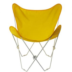 35 retro style outdoor patio butterfly chair with sunny yellow cotton duck fabric cover