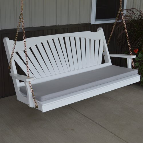 A Amp L Furniture Yellow Pine Fanback Porch Swing