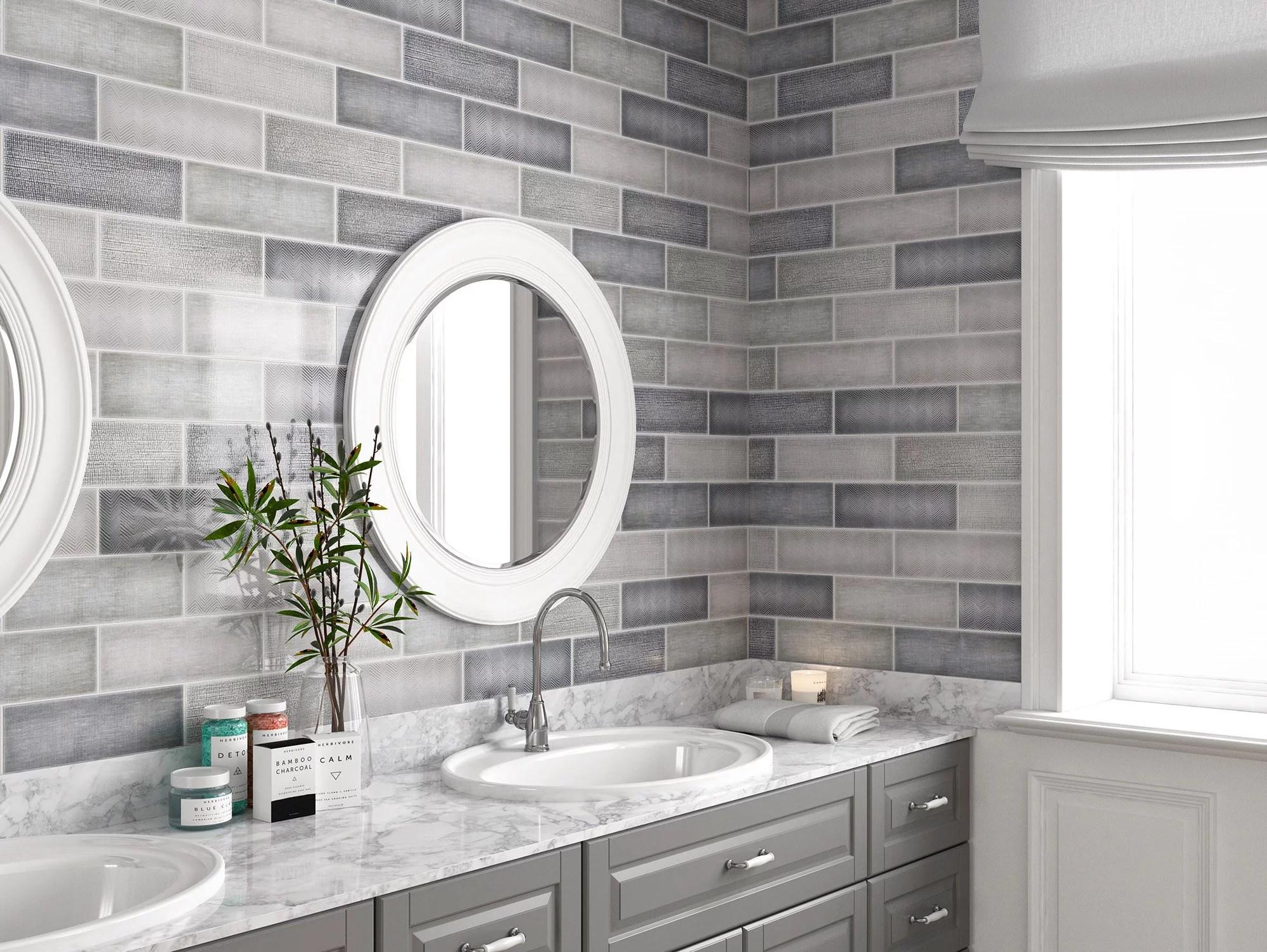 mto0452 modern 4x12 gray subway multi pattern glossy porcelain tile walmart com