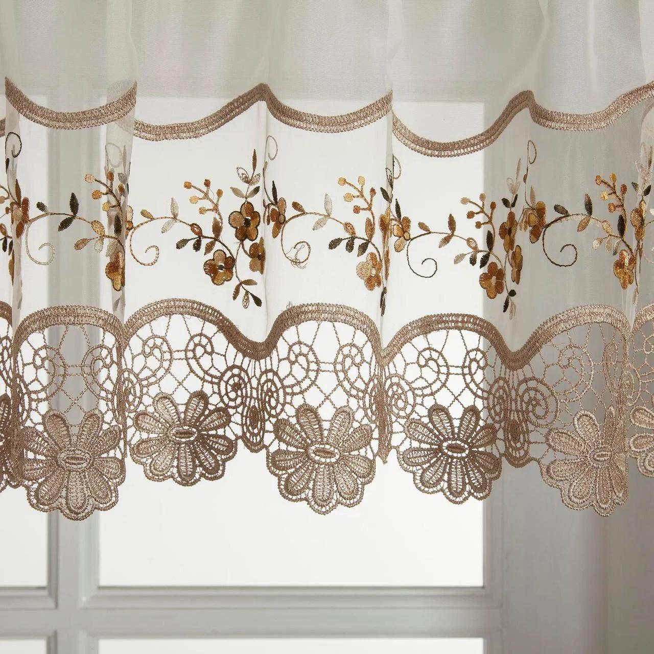 vintage embroidered gold kitchen curtain valance