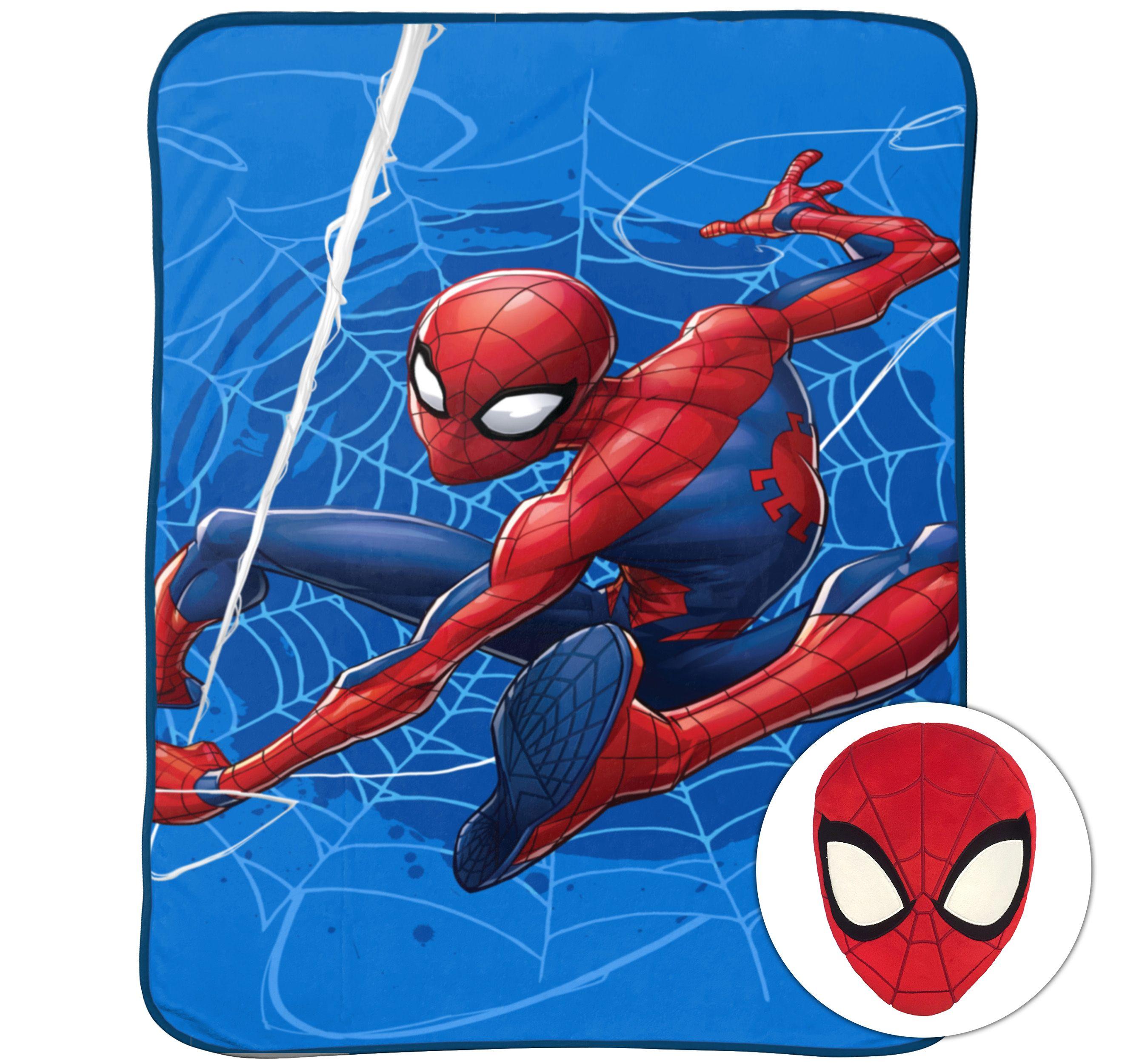 marvel spiderman noggin kid s bedding pillow and blanket set 1 each