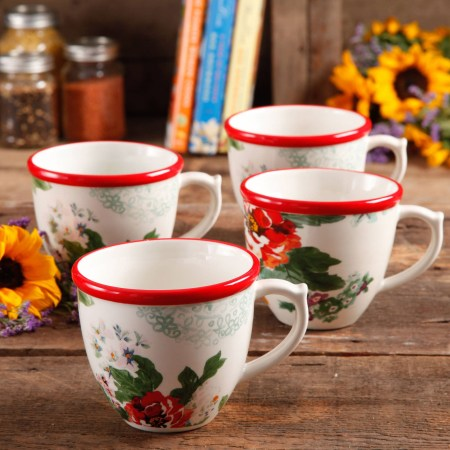 The Pioneer Woman Flea Market 17 oz Decorated Coffee Cups, Country Garden, Set of 4 Image 1 of 3