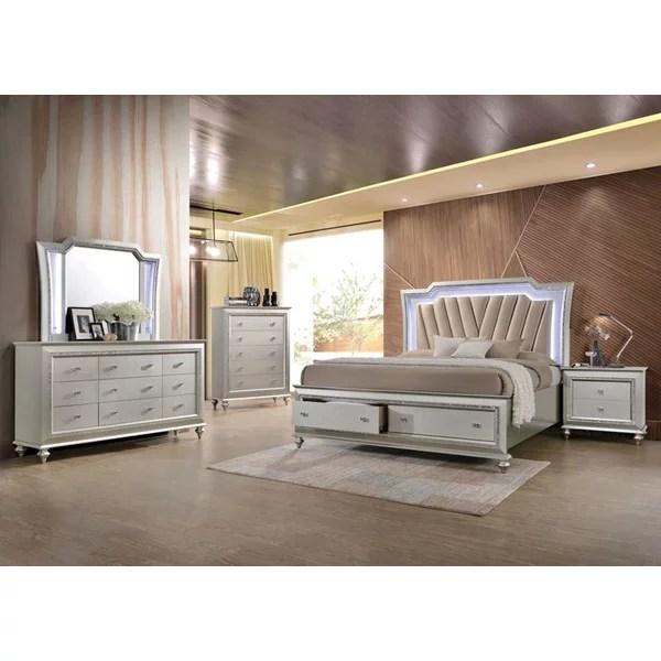 4pc bedroom furniture set led lighting headboard queen size storage bed