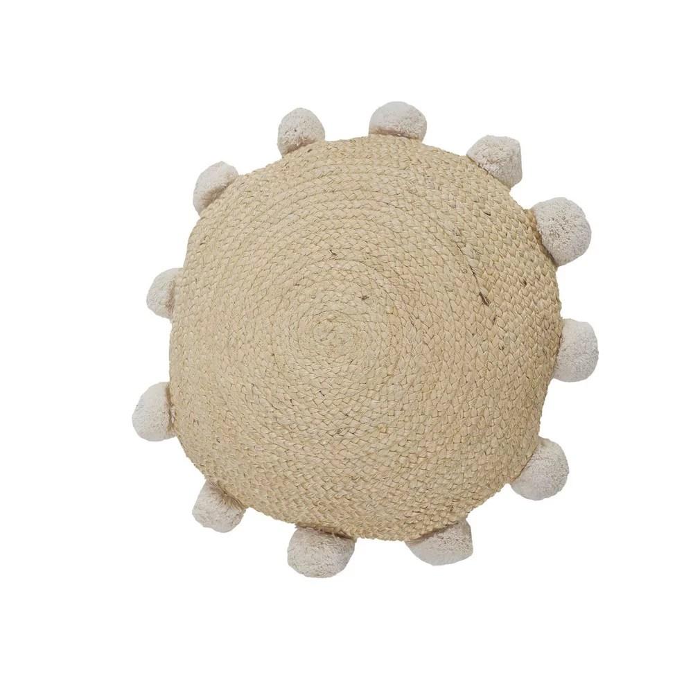lr home round natural jute throw pillow with pom pom border 20 x 20 tan walmart com