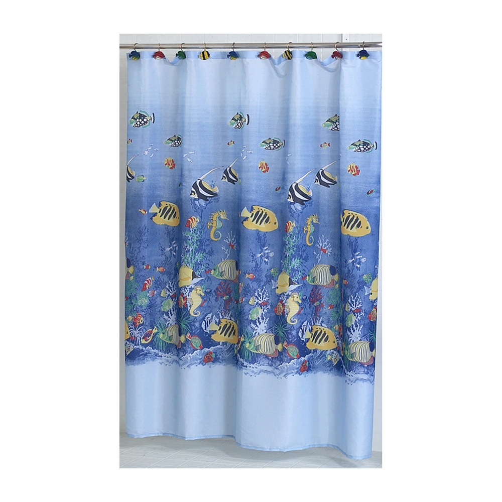 tropical sea fabric shower curtain