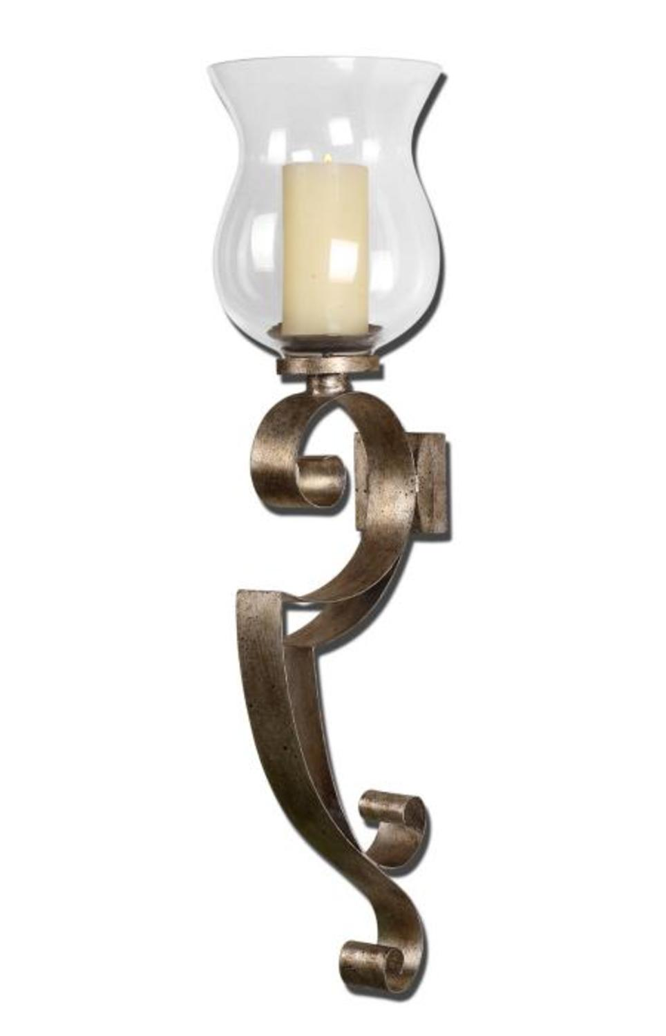"""23"""" Antiqued Silver Champagne Hurricane Candle Holder Wall ... on Silver Wall Sconces For Candles id=75723"""