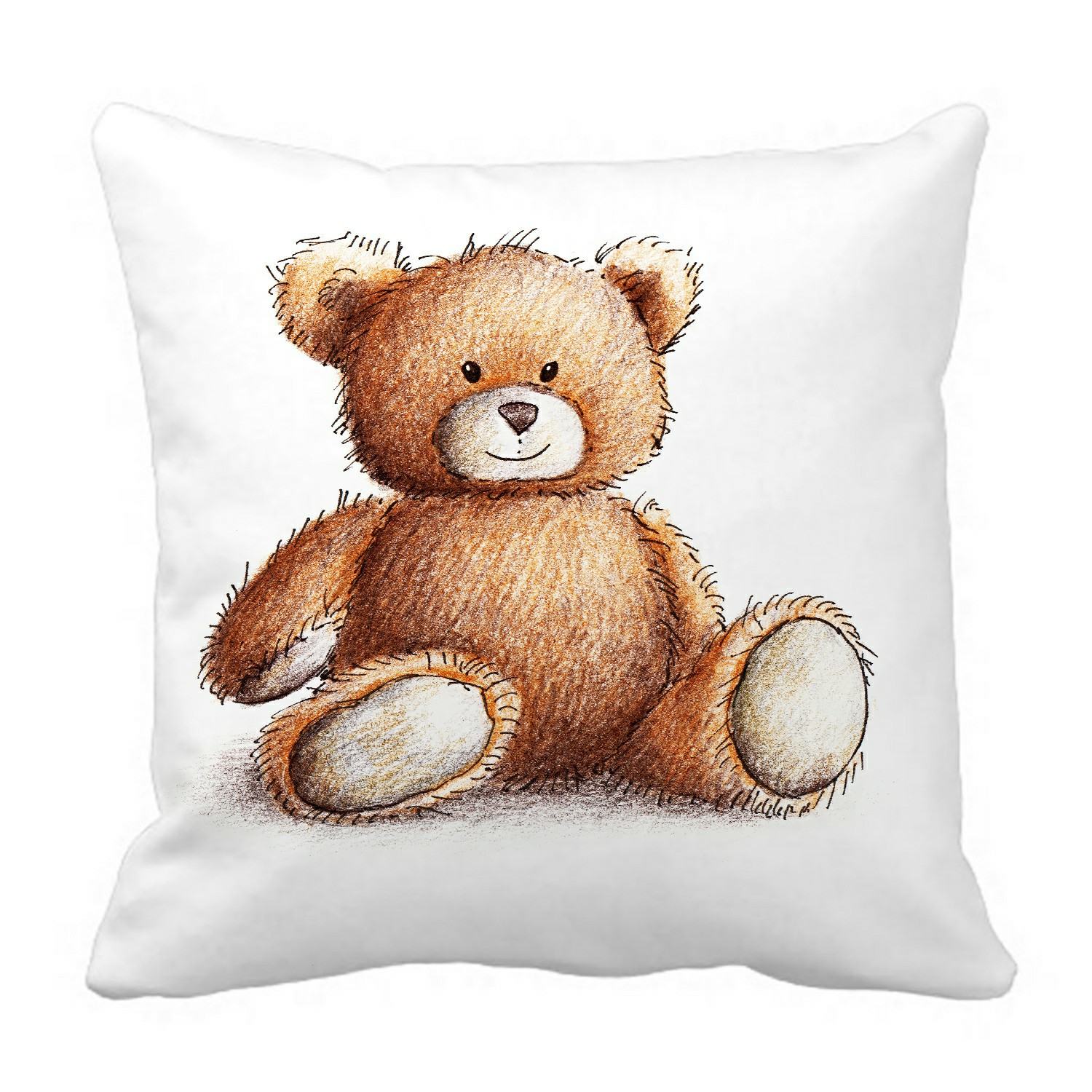 eczjnt cute teddy bear on white pillow case pillow cover cushion cover 16x16 inch
