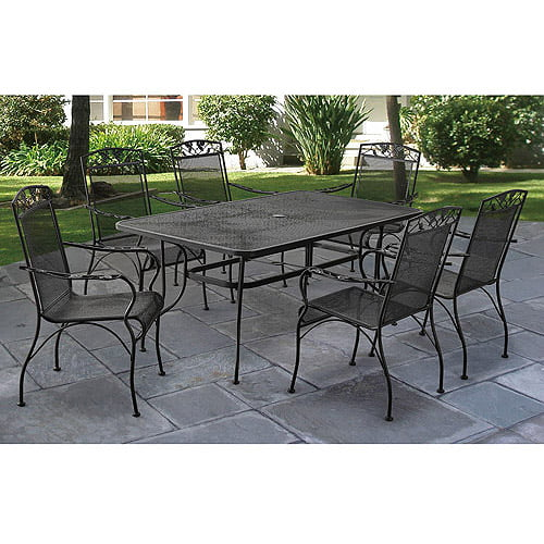 wrought iron patio dining sets Mainstays Jefferson Wrought Iron 7-Piece Patio Dining Set