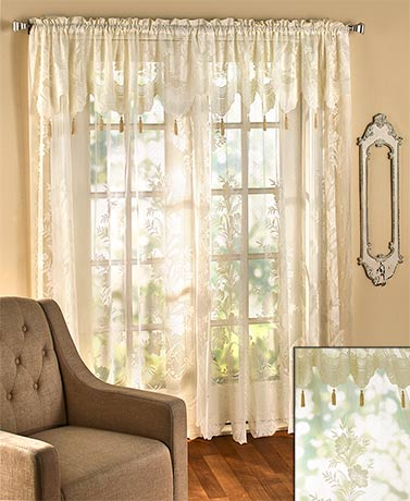the lakeside collection 84 lace curtain with attached valance ivory