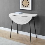 Angeli Modern Round Drop Leaf Faux White Marble Dining Table By Manor Park Walmart Com Walmart Com