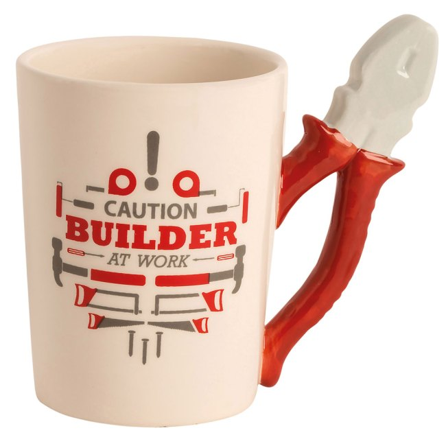 """Ceramic Handyman Tool Mug - """"Caution Builder At Work""""- Pliers - Great Father's Day Gift"""