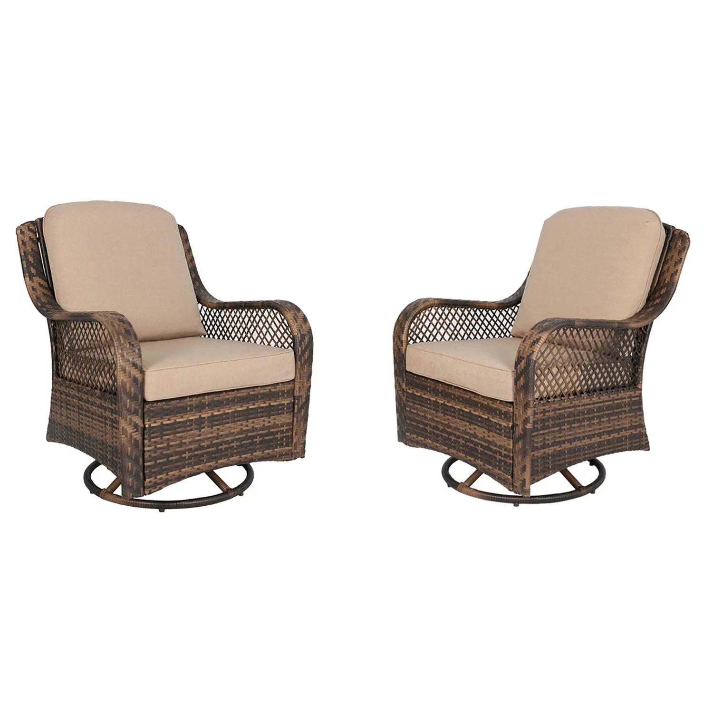 ulax furniture patio wicker swivel glider chair outdoor cushioned rattan rocker rocking chair beige walmart com