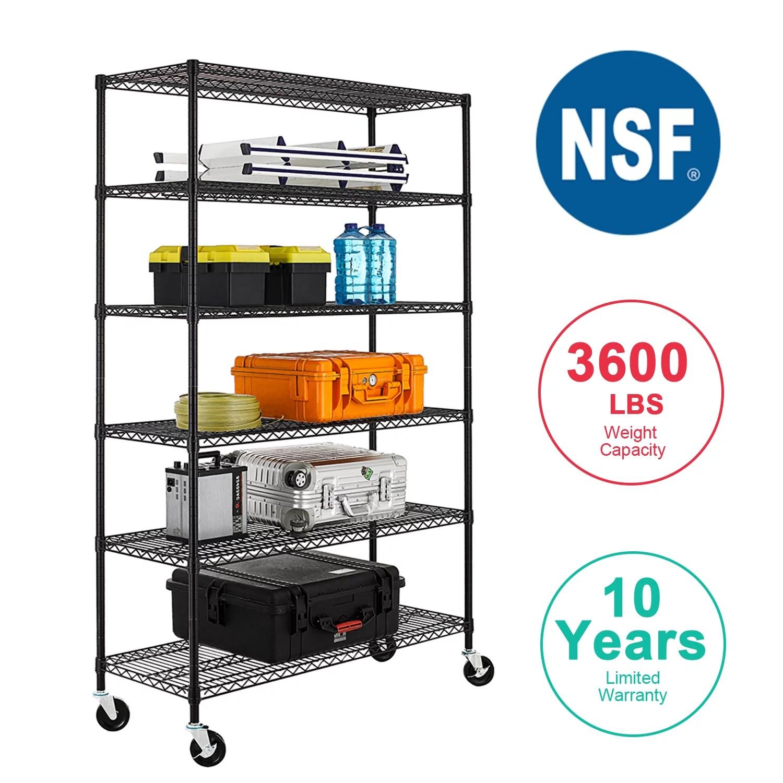 nsf wire shelving unit heavy duty garage storage shelves large black metal shelf organizer 6 tier height adjustable commercial grade storage rack 3600