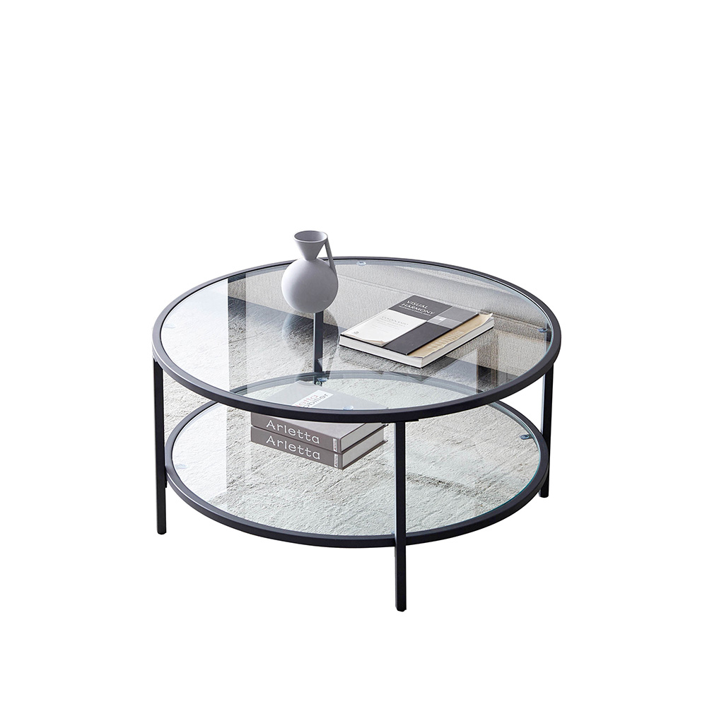modern 2 tier glass top coffee table 36 round dining table with storage shelf living room home furniture walmart com