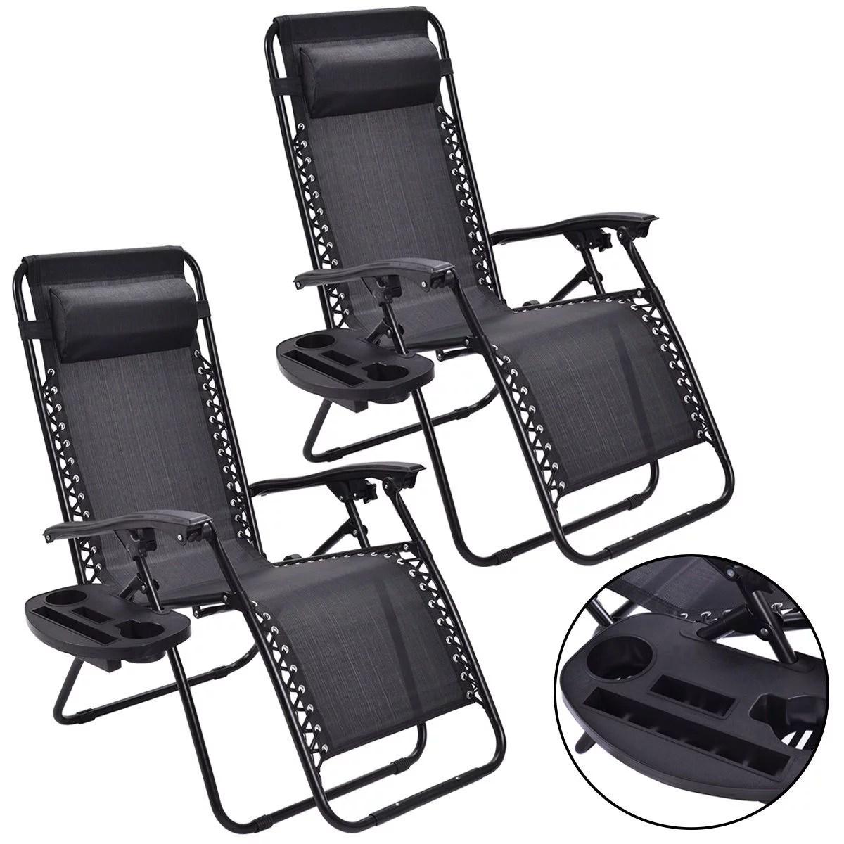 costway 2pc zero gravity chairs lounge patio folding recliner outdoor black w cup holder walmart com