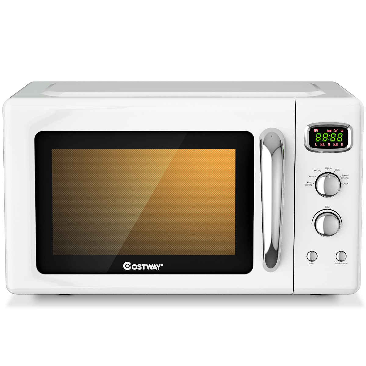 costway 0 9cu ft retro countertop compact microwave oven 900w 8 cooking settings blackgreenwhite
